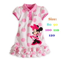 Retail Hot Pink Polka Dot White Casual Little Girl Dress for Babies Minnie Mouse Outerwear Clothes Kids Fashion Summer Clothing