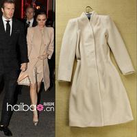 2013 autumn and winter women fashion slim wool coats, long design trench outerwear woolen coat knee length