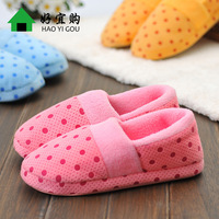 Autumn and winter dot cotton-padded slippers women's package with soft outsole women shoes slip-resistant at home warm shoes