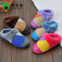 Cotton-padded winter platform slippers lovers slippers small package with thermal indoor shoes at home