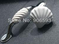 24pcs lot free shipping white porcelain wavy cabinet handle\porcelain handle\drawer handle\furniture handle
