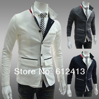 new hot spring England style men's plus size fashion Turn-down collar jacket,casual white,grey,navy male outdoor wear XY-B040