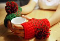 2013 New Free Shipping Winter Warm Woolen Gloves Lovely Hairy Ball AB-color Dew Half Gloves HTNST-002