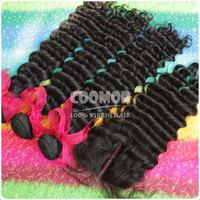 3 bundles Peruvian Virgin Hair Deep Wave  hair extension with closure swiss lace base medium luster free shipping