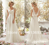 Perfect Combination Princess Lace with Crystals Chiffon Sweet Destination Free Shipping Wedding Dress 2014 for Girls
