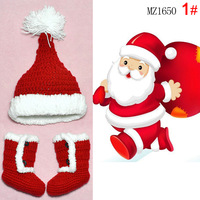 Free shipping Cute Santa Claus Children's hats, shoes set of red  Baby christmas Gifts
