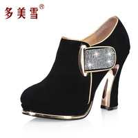 Chinese Brand 2014 Women's Shoes Thick Heel High Boots Spring And Autumn Fashion Genuine Leather Ankle Plus Size Boots