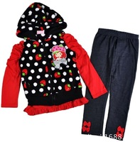 2013 4sets/lot, Girls Autumn Clothing Set Children's Sports Suit Dotted Black Jacket+Strawberry T +Pants