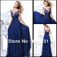 Big Discount 2013 New Arrival See Through Cap Sleeves Sequins Lace Navy Blue Long Prom Dresses Formal Evening Gowns TE 92130