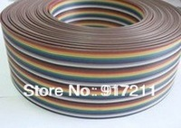 Free Ship ribbon cable 20 WAY Flat Color Rainbow Ribbon Cable wire Rainbow Cable 20P ribbon cable 1.27MM pitch 10m/lot IN STOCK