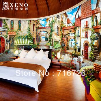 Frete Grátis pintura a óleo Campo europeu clássico Tamanho personalizado parede rolo de papel mural para a decoração Home, BH327