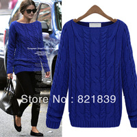 2013 Spring and autumn new fashion korean style pullover solid color thicken warm vintage sweater for women pullover sweater