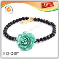 Turquoise Rose Flower on Black Onyx Strand Elastic Bracelet Wholesale 2013