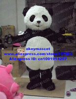 Adult Size White Long Fur Panda Mascot costume Fancy Dress Party Halloween Outfit Free Shipping