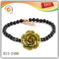 Yellow Olive Rose Flower on Black Strand Elastic Bracelet Wholesale 2013 50pcs/lot