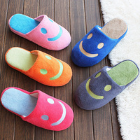 (Mix Min order $10) Candy color smiling face coral fleece floor slippers
