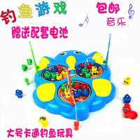 Cartoon Large fishing toy , child electric educational toys rotating musical , belt 3 fishing rod