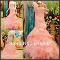 2014 Sheath Column Floor-Length Sweep Brush Train Handmade Flower One Shoulder Sleeveless Zipper Pink Lace Tulle Wedding Dresses
