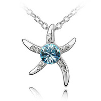 Free shipping factory wholesale fashion Austrian crystal necklace - Starfish Love 081