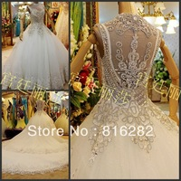 2014 A-Line Floor-Length Court Train Sequined Beads Tiers Sweetheart Spaghetti Straps Zipper White Organza Wedding Dresses PECD1