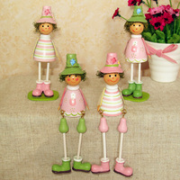 Aimy home fashion rustic colored drawing wooden doll home decoration pink 4  as Christmas/Birthday gift Free shipping