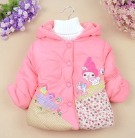 Children's clothing girl coat autumn and winter cartoon small house floral jackets warm outerwear