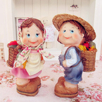 Rustic resin colored drawing doll home decoration fruit lovers doll Large  as Christmas/Birthday gift Free shipping