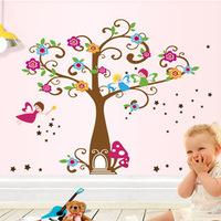 DIY Removable Vinyl Fairy Tree Flowers Wall Sticker Decals for Kid Nursery Room Free Shipping