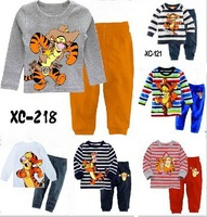 Retailchildren boys girls pajamas kids striped t shirts + pants clothes sets cartoon pajama clothing set sleepwear baby tiger