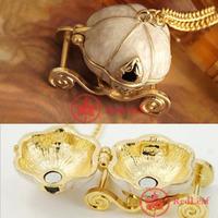 [Hot] Vintage Cinderella Pumpkin Carriage Locket Pendant Chain Necklace Xmas Gift wholesale