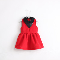 wholesale 6pcs/lot child PU cutout patchwork woolen tank dress children's clothing winter dresses