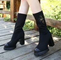 2014 Winter Fashion Stretch Fabric High-heeled Platform Thick Heel Martin Platform Classic Women Over The Knee Long Boots