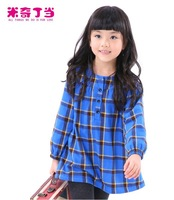 Free shipping #1313739 Cotton high quality girl blouse Design Hot Children Baby Girl Plaid Fleece  Winter Warm Frock Style Dress
