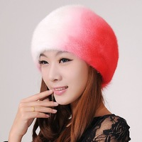 Accidnetal mink hat marten cap leather Women strawhat women's fedoras super hat beret limited