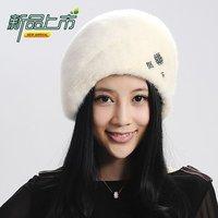 Marten hat 2013 mink hat leather strawhat genuine leather mink cap Women hat thermal cotton hat