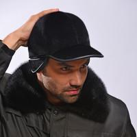 Seal fur leather hat ear , cap mink fur baseball cap , fur ,