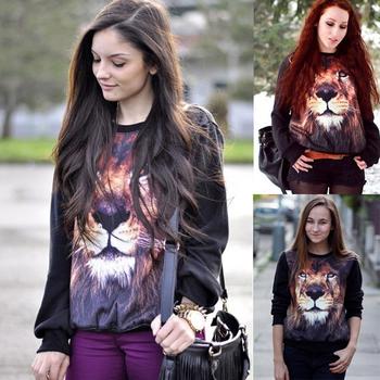 2013 Autumn Winter  Women's Sweatshirt Animal 3D Lion Head Print Loose Personality Trend Sport Sweater 6802