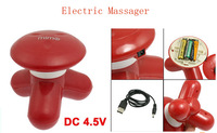 Battery USB Powered Muscles Loosen Body Red Plastic Electric Massager 2pcs