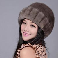 Full leather mink hair hat grey women's winter fur beret vintage dome flat brim