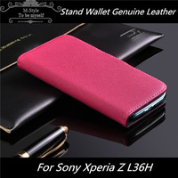 Luxury Stand Wallet Genuine Leather Case Cover For Sony Xperia Z L36h + 1 Screen Protector Free Shipping