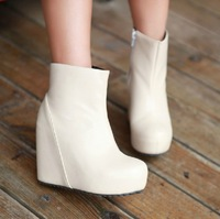 2013 Autumn And Winter Martin Fashion Vintage Fashion High-heeled Ankle Wedges White Shoes For Women Waterproof Female Boots