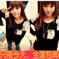 2013 autumn female fashion slim patchwork long-sleeve pullover sweater elastic sweater