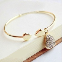 Min.order is $12 (mix order)  Rhinestone hollow heart bracelet