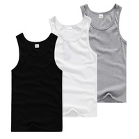 Free shipping 2014 Fashion Solid Tight Sports Elastic Cotton Men Vest ,black white gray underwear men Hot sale