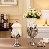 Fashion home decoration white porcelain cutout flower vase modern home ceramic crafts creative desk set kits free shipping