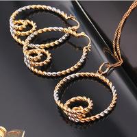 Large 18k Rose White Gold GF Charm Circles Geometric Hoop Necklace Earrings Set Free shipping