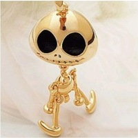 Big eyes UFO alien skull one long necklace sweater chain necklace Halloween