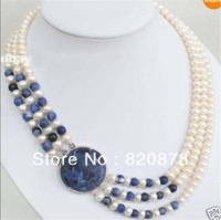 Wholesale  3 Rows Natural 7-8mm White Cultivation Pearl & Lapis lazuli Round Beads Necklace  fashion jewelry