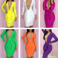 Free Shipping New Arrival High Fashion High Quality Hollow Out Women Dress Bodycon Colorful Bodycon Dress Club Wear