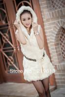 2013 autumn and winter new women's fur vest with hood, rabbit fur vests for women ladies